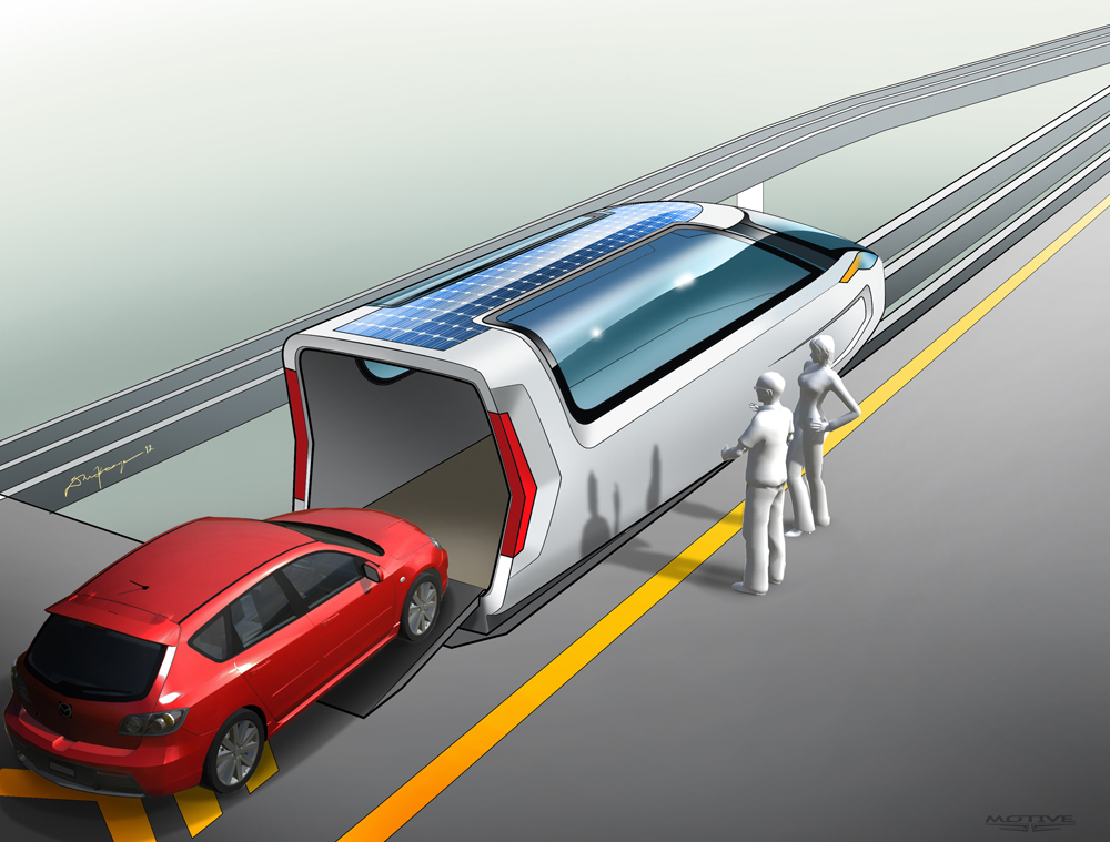 PRT Car loading Keage Concepts Calgary Alberta Automotive Design